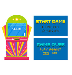 start game and end playing pixel video vector image