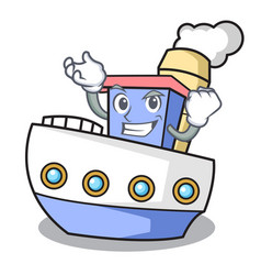 successful ship character cartoon style vector image