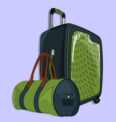 suitcase or travel luggage and barrel bag vector image