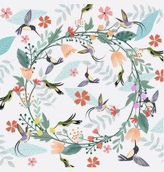 sweet flower crown and hummingbird pattern vector image