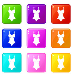 Swimsuit icons 9 set vector