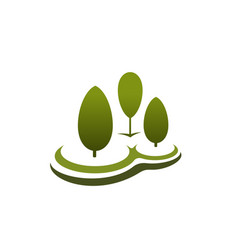 three green trees icon vector image