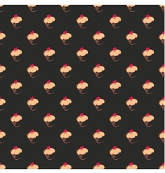 Tile pattern with cupcake on black background vector image