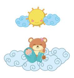 Toy bear with baand feeding bottle vector