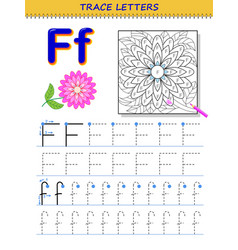 Tracing letter f for study alphabet printable vector