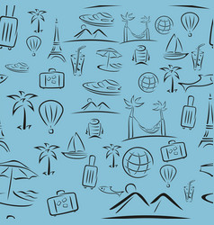 Travel pattern in style brush strokes vector