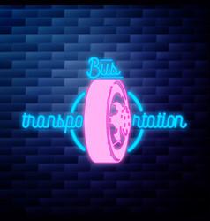 vintage bus transportation emblem glowing neon vector image