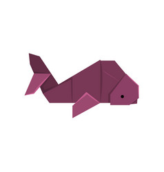 Whale fish origami paper animal vector
