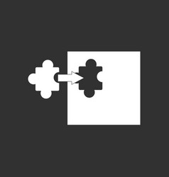 White icon on black background last piece puzzle vector