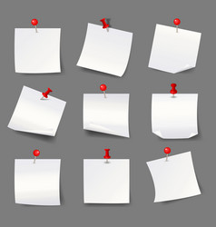white note papers with thumbtacks blank paper vector image