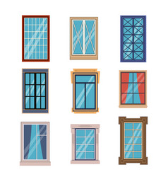 windows frames flat colorful various window frame vector image