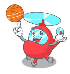 With basketball helicopter character cartoon style vector