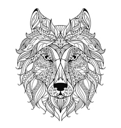 Wolf head zentangle stylized coloring page vector