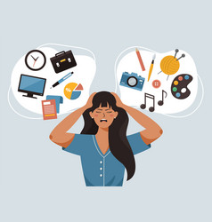 woman is thinking about career business or hobbies vector image