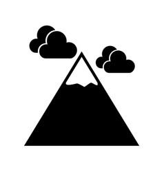 black icon mountain cartoon vector image vector image