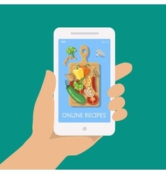 Online recipe on mobile phone in flat style vector image vector image