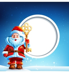 Santa Claus in the snow with a thumbs up and vector image vector image