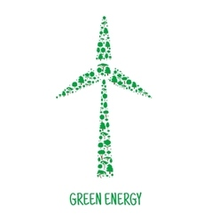 Wind turbine symbol made up of green trees vector image