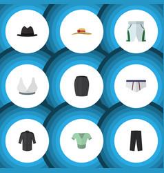 flat icon garment set of stylish apparel panama vector image