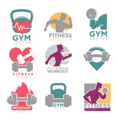 gym and fitness club sport icons set vector image vector image