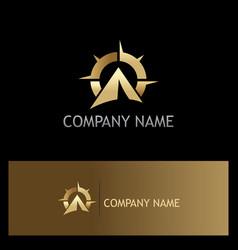 star navigation gold logo vector image