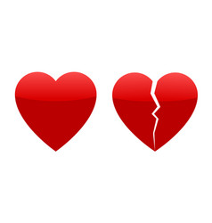 two red hearts whole and broken vector image