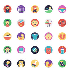 baby and kids flat icons set vector image