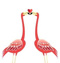 Bright greeting card with a flamingo lovers kiss vector image vector image