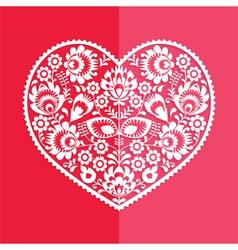 Valentines Day card - Polish folk art heart vector image