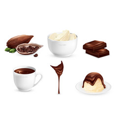 cocoa products set vector image vector image