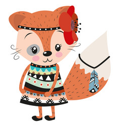 cute fox on a white background vector image vector image