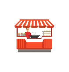 flat street food kiosk with barbecue vector image vector image