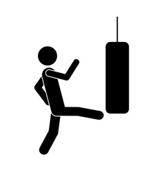 monochrome pictogram with man kicking a punching vector image vector image