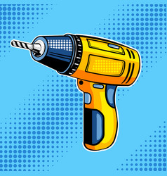 screw gun comic book style vector image vector image
