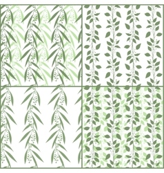 Set of seamless pattern branches of eucalyptus and vector image vector image