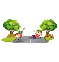 Two kids playing in the middle of the road vector image vector image