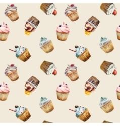 Watercolor cupcake seamless pattern vector image vector image