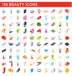 100 beauty icons set isometric 3d style vector image