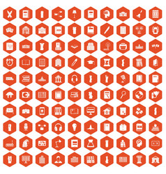 100 library icons hexagon orange vector