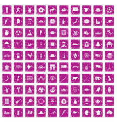 100 map icons set grunge pink vector image