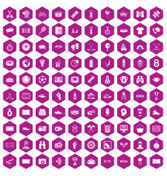 100 sport journalist icons hexagon violet vector image