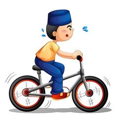 A boy biking vector