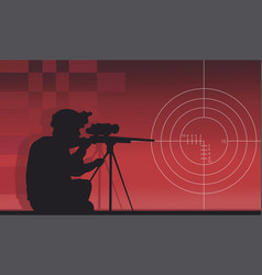 A sniper with a gun on a red background vector