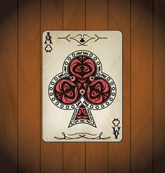 Ace of clubs poker cards old look varnished wood vector image