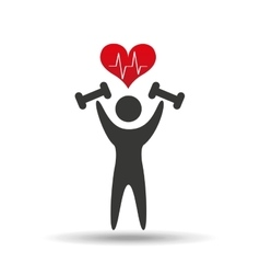 athlete silhouette barbell weights heart vector image