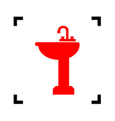 bathroom sink sign red icon inside black vector image
