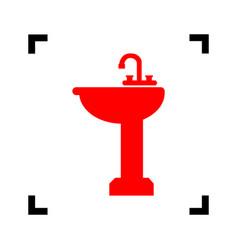 bathroom sink sign red icon inside black vector image