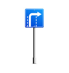 blue turn right road sign with white arrow turning vector image