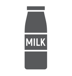 bottle of milk glyph icon drink and food vector image
