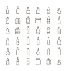 bottle packaging collection - icons set vector image